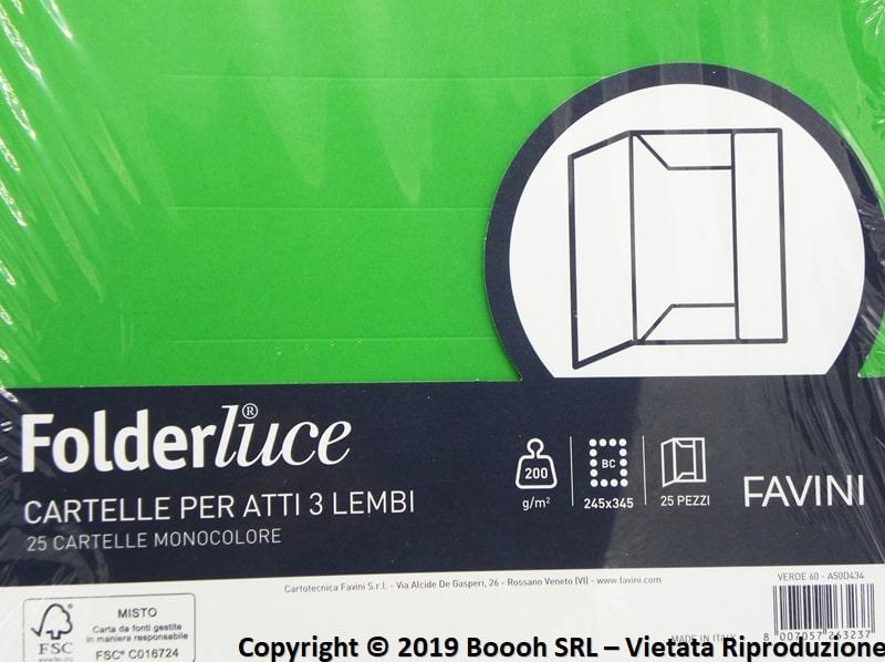CARTELLINE VERDI 3 LEMBI PER ATTI NOTARILI - MOD. FOLDERLUCE by FAVINI - CONFEZIONE DA 25 PEZZI - banner descrizione