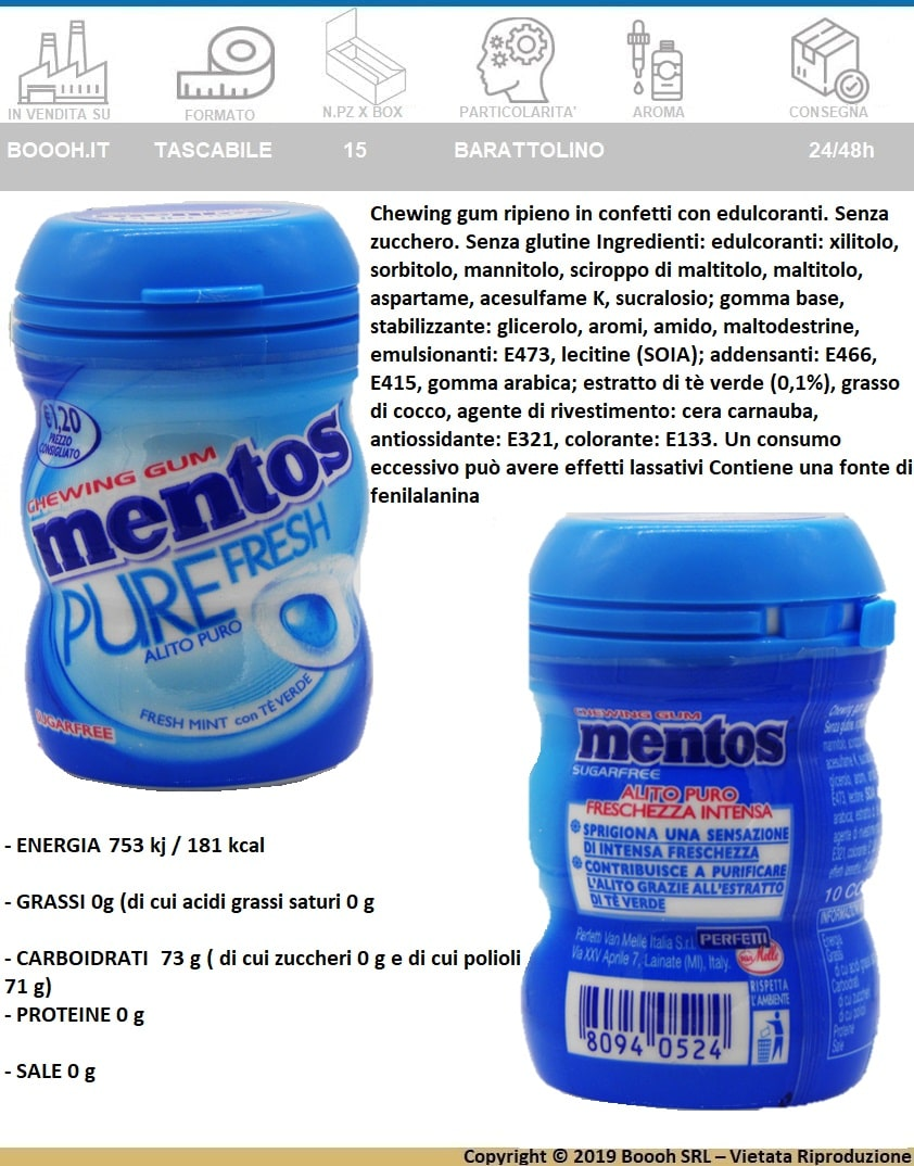 MENTOS PURE FRESH MINT NANO BOTTLE BUBBLE GUM - BOX DA 15 BARATTOLINI IN PLASTICA - BANNER DESCRIZIONE