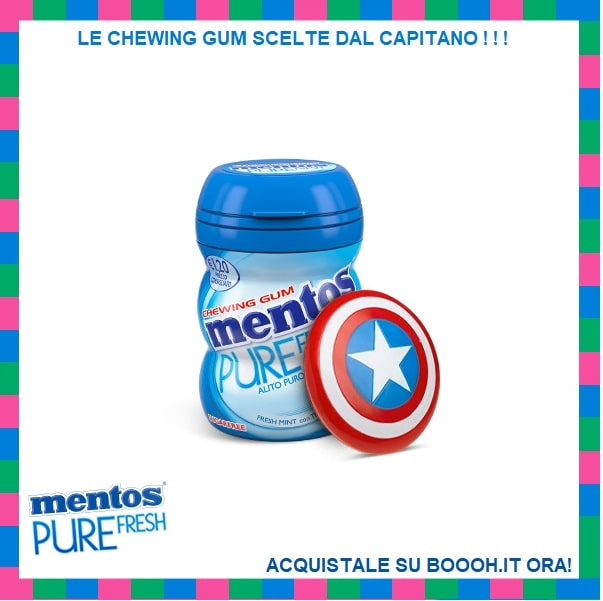 MENTOS PURE FRESH MINT NANO BOTTLE BUBBLE GUM - BOX DA 15 BARATTOLINI IN PLASTICA - CORNICE SOCIAL