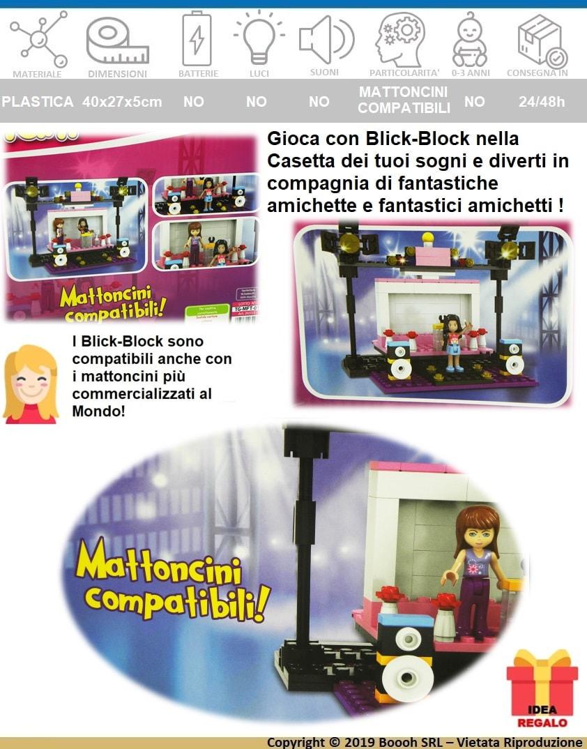 BLICK BLOCK GIRL AMBIENTAZIONE CONCERTO MATTONCINI PER COSTRUZIONI COMPATIBILI - BELLISSIMA IDEA REGALO - banner descrizione