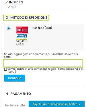 Metodot-Spedizione-Inserire-Commento-Ordine-Boooh.it-Ecommerce-Tricolore