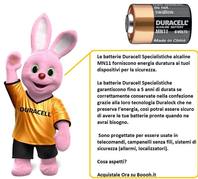 BATTERIE DURACELL SPECIALISTICHE ALCALINE MN11 DA 6V - banner descrizione