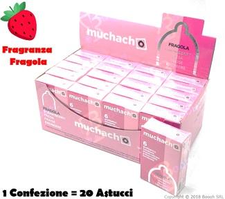 PRESERVATIVI AROMA FRAGOLA MUCHACHO - ASTUCCIO DA 6 PROFILATTICI in vendita su Boooh.it footer