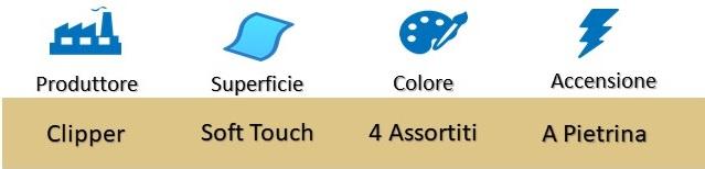 Icona Clipper Micro Soft Touch 4 Accendini su Boooh.it