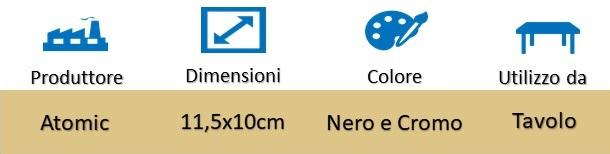 Icona Atomic Posacenere da Tavolo Nero e Cromo Classico Mangiafumo con Pulsante Roll su Boooh.it