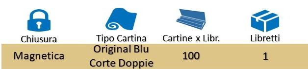 Icona Gizeh Cartine Corte Doppie Libretto Magnetico Original Blu su Boooh.it