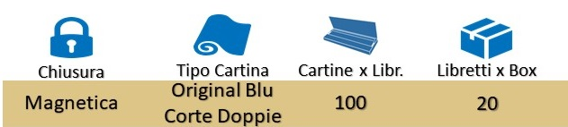 Icona Gizeh Cartine Corte Doppie Magnetico Original Blu su Boooh.it