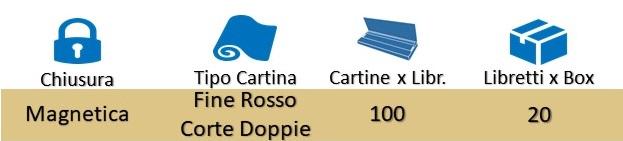 Icona Gizeh Cartine Corte Doppie Libretto Magnetico Rosso su Boooh.it